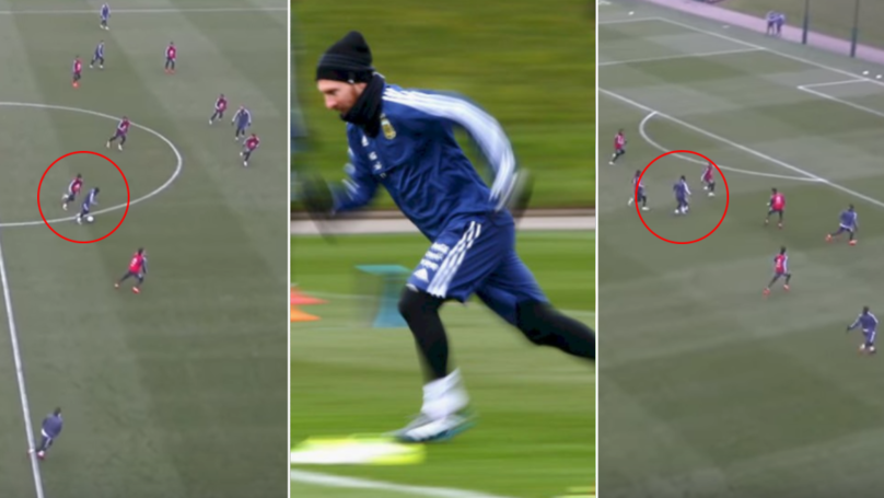 The G.O.A.T Lionel Messi Scores The Most Outrageous Goal In Argentina Training