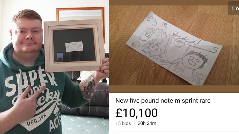 Hand Drawn Fiver Receives Bids Of Over £10,000 In Online Auction