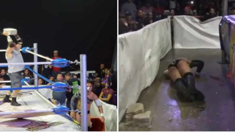 The Sickening Moment Wrestler Has A Brick Hurled At His Head During Match
