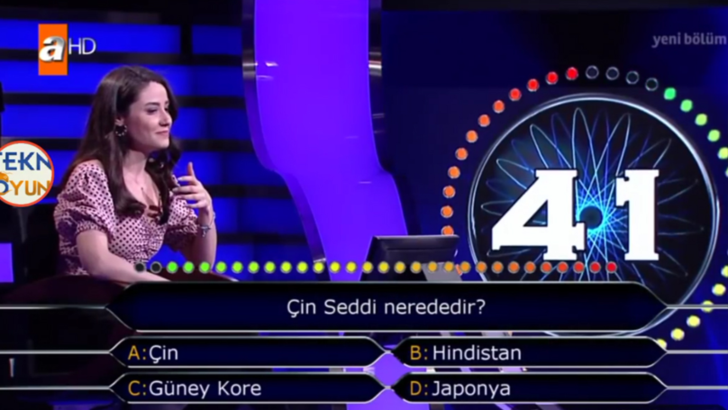Turkish Quiz Contestant Uses Two Lifelines To Answer 'Where Is The Great Wall Of China?'