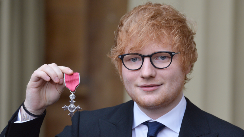 Ed Sheeran Awarded MBE At Buckingham Palace
