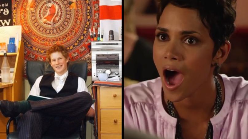 Halle Berry Spots Herself On The Wall Of Prince Harry's High School Dorm Room