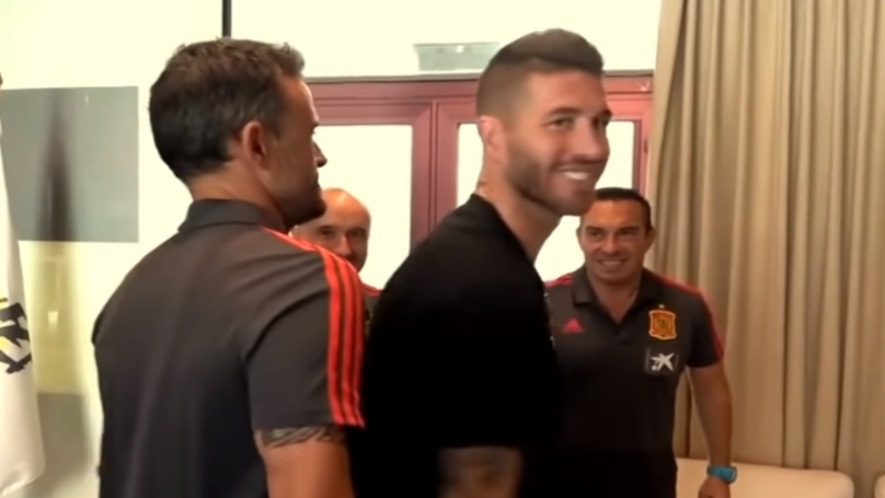 Watch: Luis Enrique Greeting Sergio Ramos Is Brilliant
