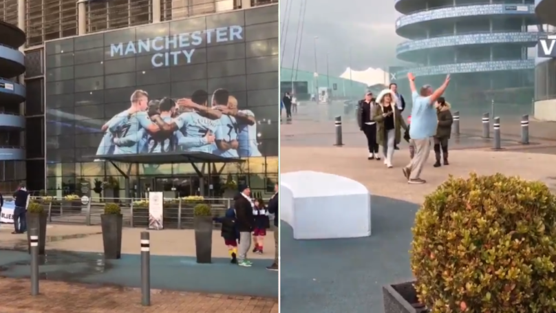 Film Crew Arrives Outside The Etihad To Witness Title Celebrations, Only A Few People Turn Up