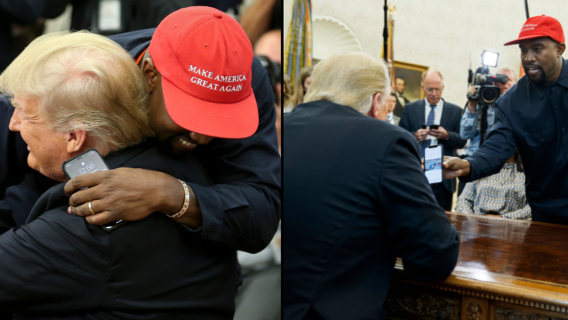 People Spotted Kanye West's Phone Password While He Met Trump And Couldn't Help But Laugh