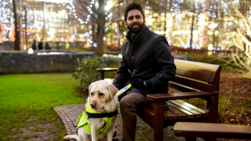 Blind man straps camera to guide dog's back. When wife sees video.