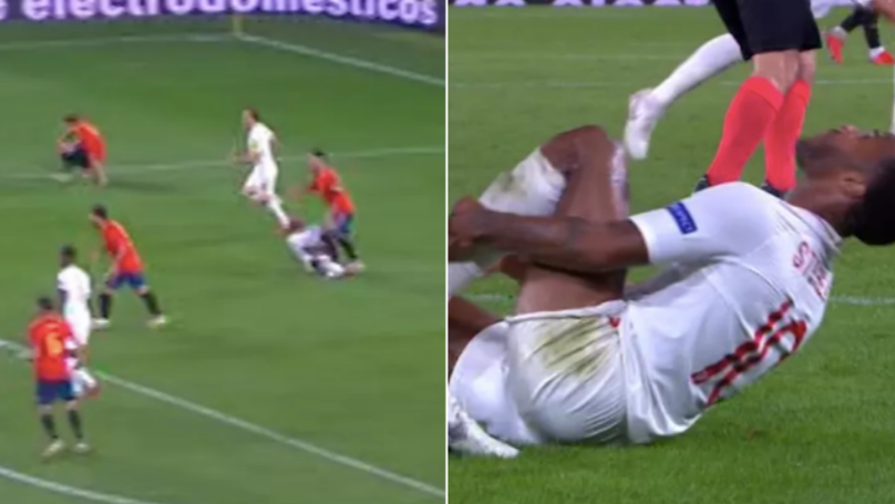 Sergio Ramos Appears To Stamp On Raheem Sterling When The Referee Isn't Looking
