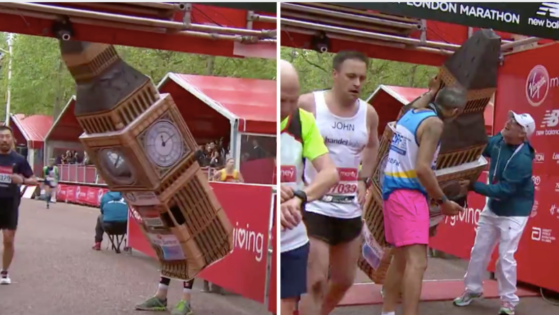 London Marathon Runner Dressed As Big Ben Gets Stuck At Finish Line