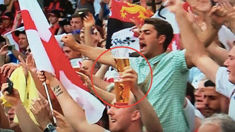 England Fan Holding Two Pints In One Hand And A Flag In The Other Goes Viral