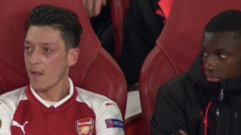 The Moment Eddie Nketiah Was Caught Staring At Mesut Ozil For An Uncomfortably Long Time