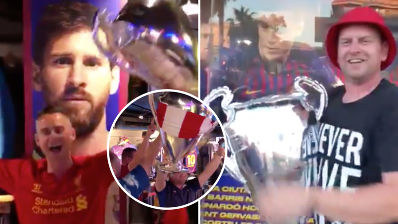 Liverpool Fans Celebrate Champions League Triumph By Taking Fake Trophies Into A Barcelona Store