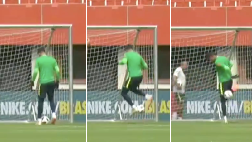 Only A Brazilian Goalkeeper Could Pull Off Skills Like These In Training