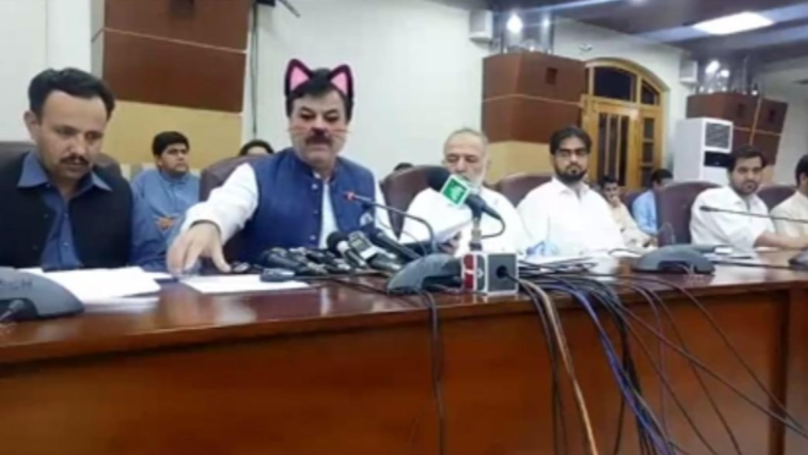 Pakistani Political Party Live Streams News Conference With Cat Filter On
