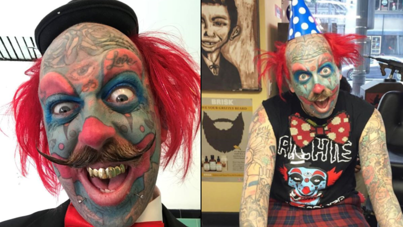 Barber Turns Himself Into A Clown With Face Tattoos
