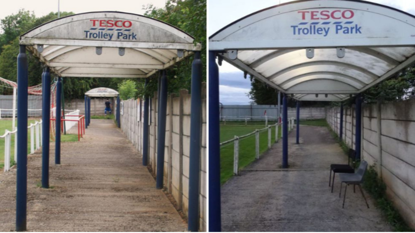 Non-League Side Teversal FC Have A Tesco Trolley Park For A Stand