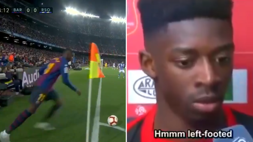Dembele Casually Takes A Corner With His Right Foot While Being A Left Footed Player