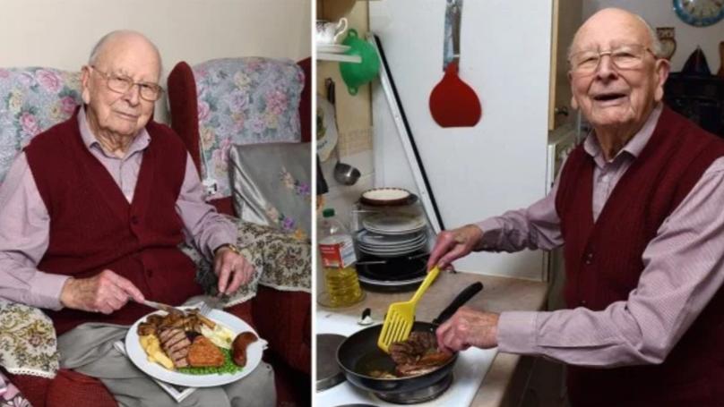 100岁的索赔长寿的关键是每天混合烤架和葡萄酒