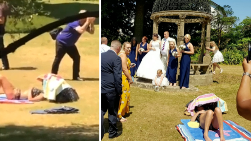 Sunbather 'Ruins' Couple's Wedding Photos By Refusing To Move