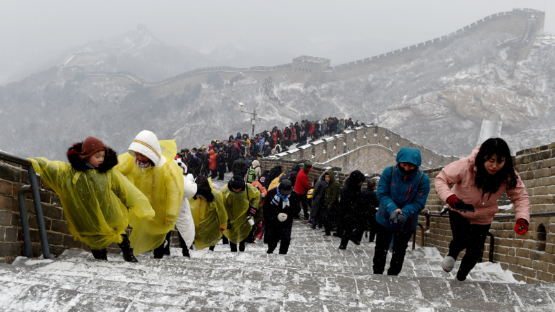 Tourists Stack It On Ice-Covered Great Wall Of China