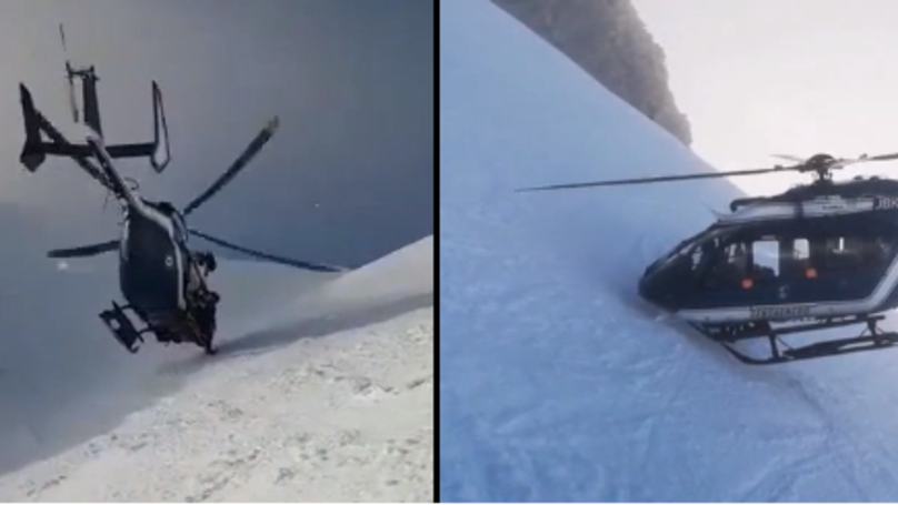 Helicopter Makes Dramatic Landing to Rescue Skier In French Alps