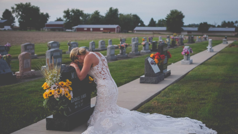 Grieving Bride Breaks Down At Fiancé's Grave On Day They Were Going To Marry