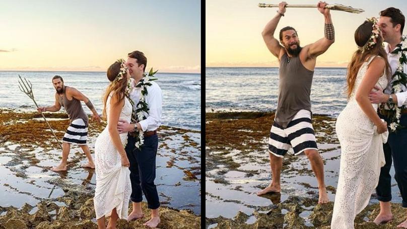 Jason Momoa Crashes Couple's Wedding Photos Carrying An Aquaman Trident