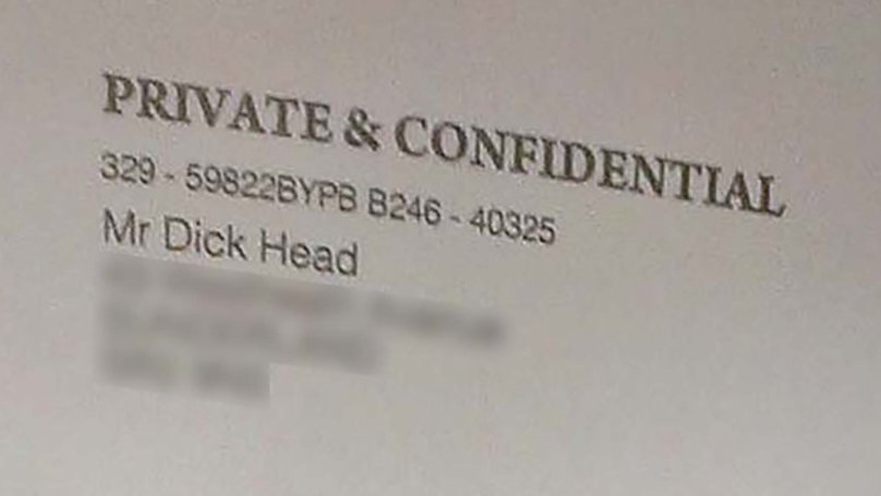 OAP Receives Letter Addressed To 'Mr Dick Head'