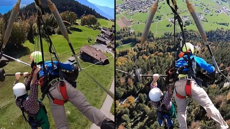 第一次悬挂式滑翔机紧贴他的飞行员后忘记把他的生活
