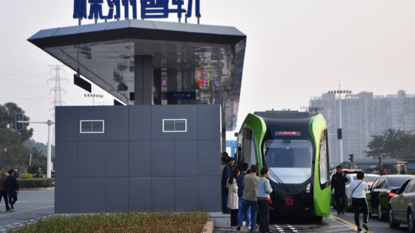 World's First Trackless 'Smart Train' Launched In China