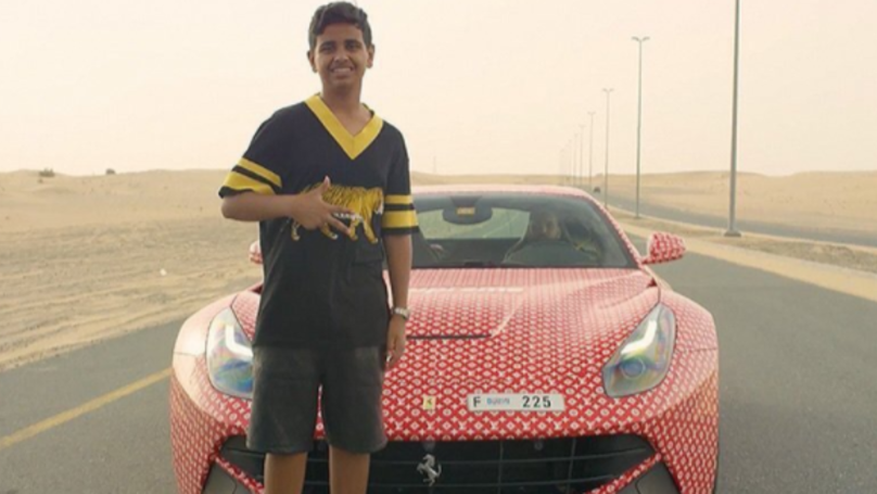 Billionaire's Son Shows Off Louis Vuitton Printed Ferrari, Which He Isn't Even Old Enough To Drive