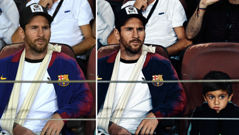 Lionel Messi Watches Barcelona Vs Inter With His Son