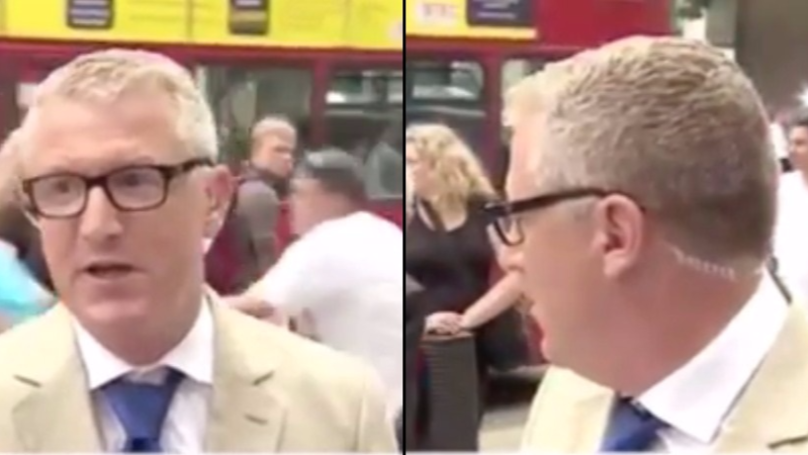 Man Runs In Front Of Bus In Middle Of Live BBC Broadcast