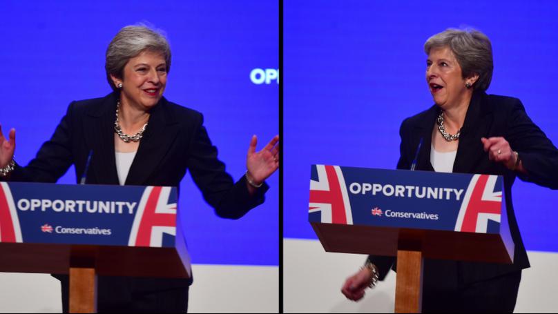 "Theresa May抛出形状""舞会皇后""的会议上演讲"