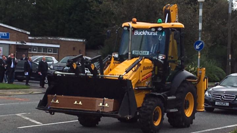 LAD Rents Massive Digger To Give His Dad A Fitting Send Off At Funeral