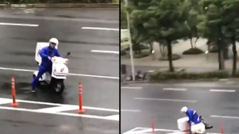 Domino's Driver Tries To Deliver Pizza Against The Force Of Japan's Typhoon Jebi