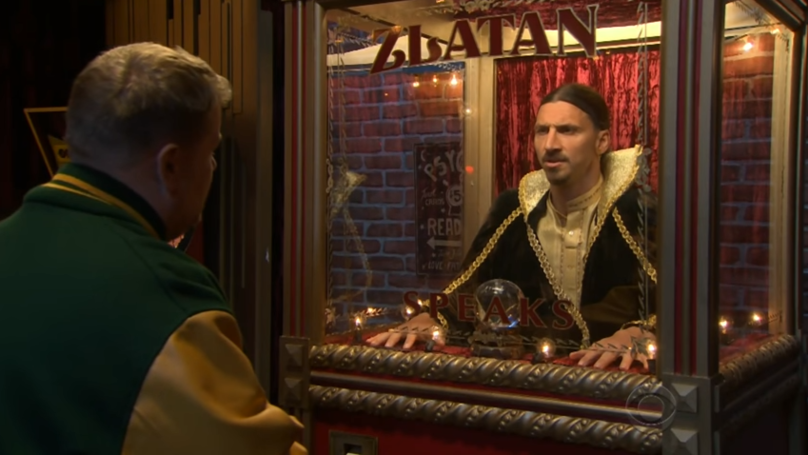 Zlatan Appears On James Corden Show As A Fortune Teller