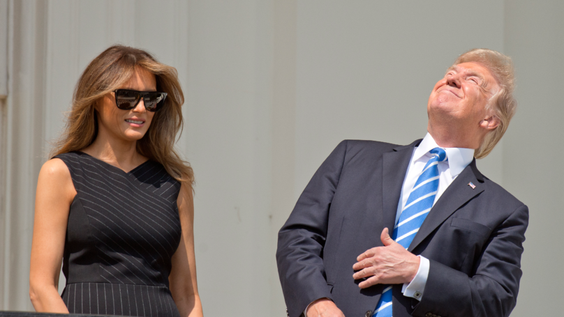 President Trump Looked At The Eclipse Without Glasses And The Internet Is Laughing