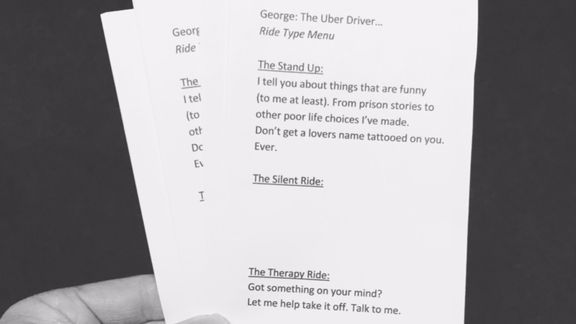 Uber Driver Offers Customers A Conversation Menu Of What They Want During The Trip