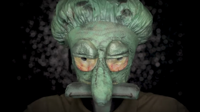 Makeup Artist Turns Herself Into Squidward Using A Condom, Shower Cap And Nipple Covers