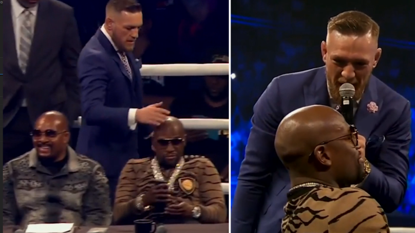 WATCH: Conor McGregor Slapped Floyd Mayweather's Head During London Press Conference