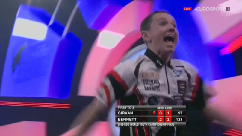 Teenager Leighton Bennett Celebrates Wildly After 121 Check Out To Win BDO Youth Trophy