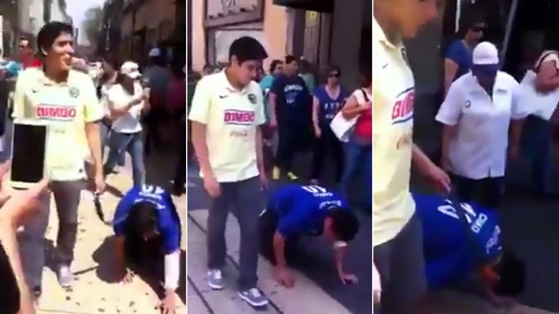 Football Fan Walked On Leash By Mate After Losing Derby Bet