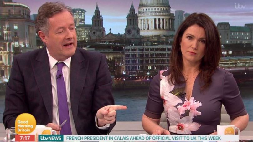 Piers Morgan Insists He Wasn't Looking At Susanna Reid's Chest On 'Good Morning Britain'