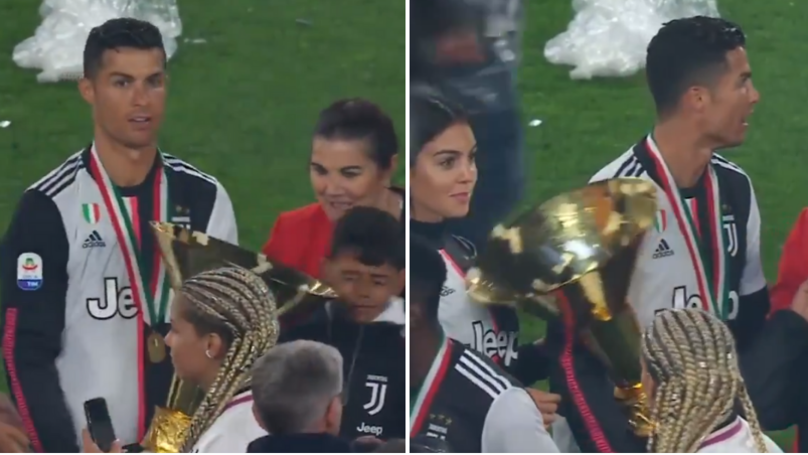 Cristiano Ronaldo Accidentally Hit His Son And Girlfriend With Serie A Trophy