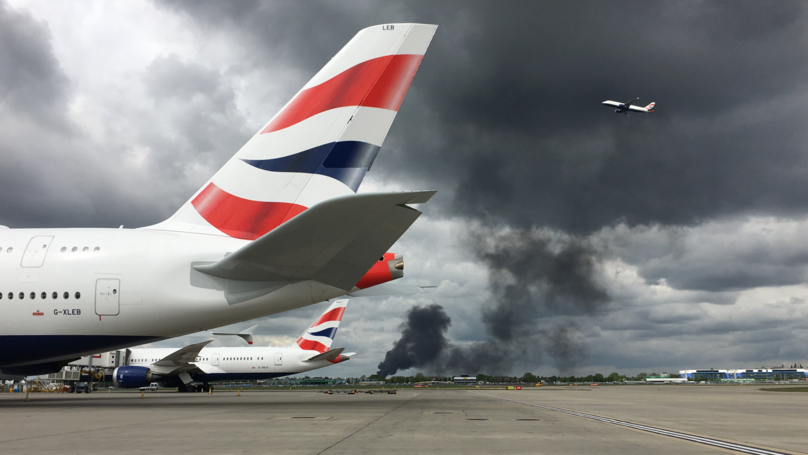 Fire Breaks Out At Warehouse Near London's Heathrow Airport