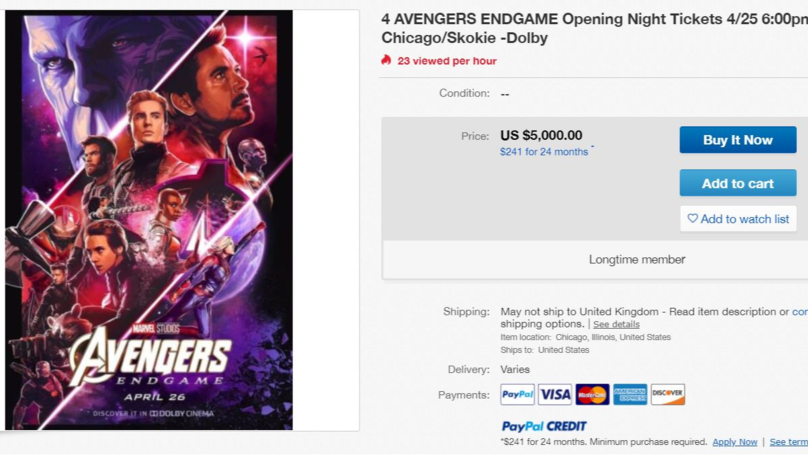 People Are Trying To Sell Avengers: Endgame Tickets On eBay For More Than $1,000