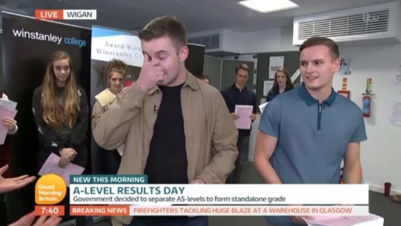 A Level Student Opens Results On Live TV And It's Not Good News
