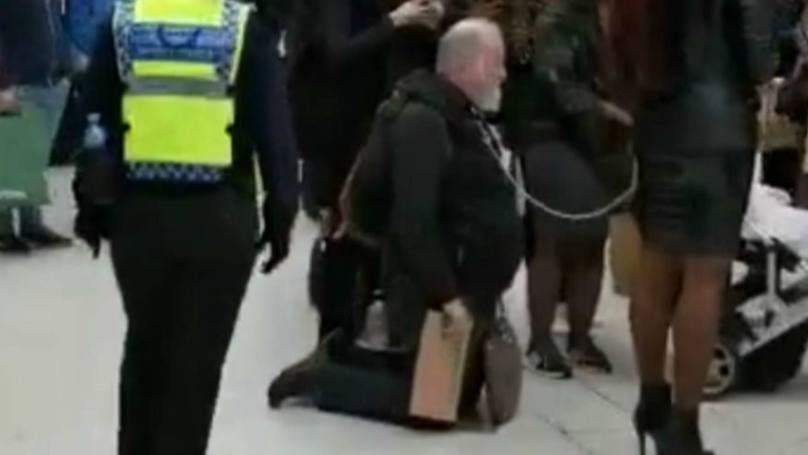 Dominatrix Filmed Walking Man On A Dog Lead Through London Waterloo Station
