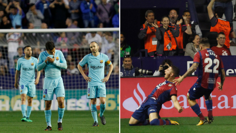 Barcelona Unbeaten Season Comes To An End In Second To Last Game Against Levante