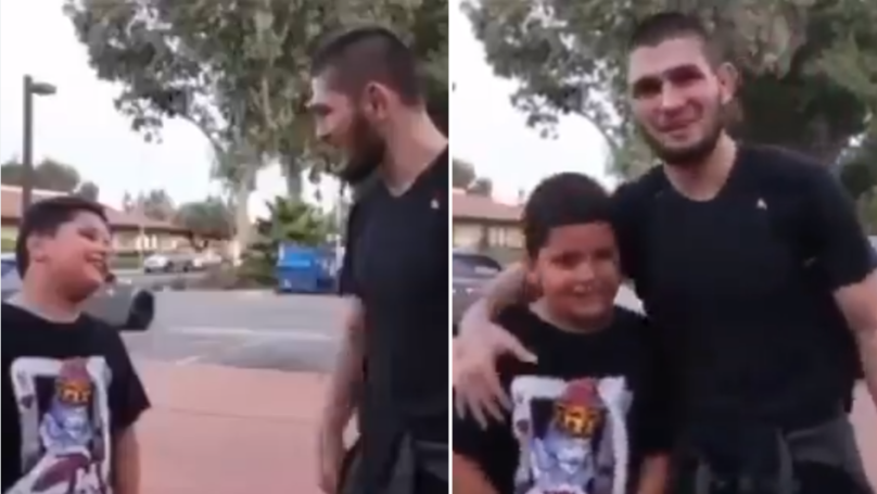 Khabib Nurmagomedov Refuses To Take A Picture With A Barcelona Fan Until He Says 'Hala Madrid'
